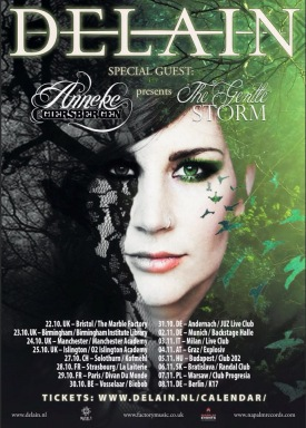Delain with The Gentle Storm poster