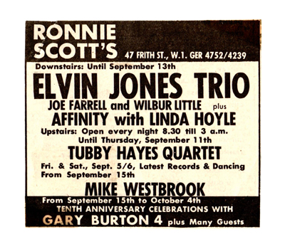 Ronnie Scott's flyer