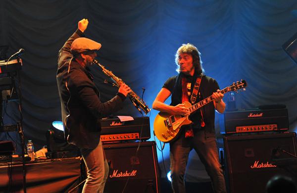 Rob Townsend with Steve Hackett - photo by Carey Brandon
