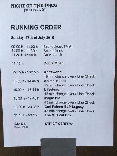 Day 3 Running Order