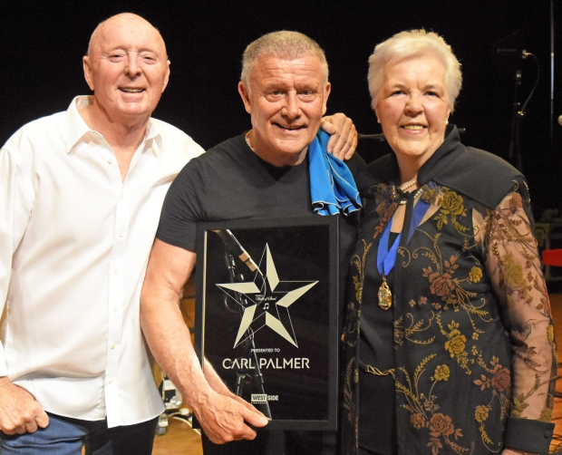 Carl Palmer with Jasper Carrott and Cllr Anne Underwood